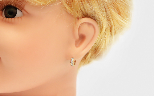 Children's Gold Cubic Zirconia Earrings - IZ6967