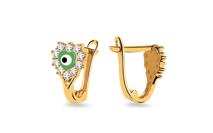 Children's Gold Zircon Earrings - IZ6566