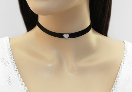Choker necklace with silver heart - IS2198S