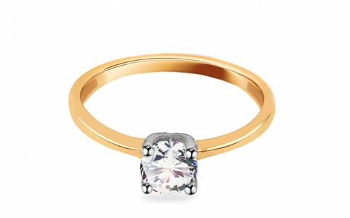 Combined Gold Engagement Ring with Zircon Madalyn - IZ12538