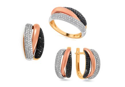 Gold Black Diamond Set