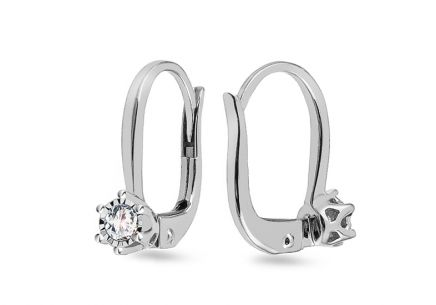 White Gold Diamond Earrings 0.160 ct