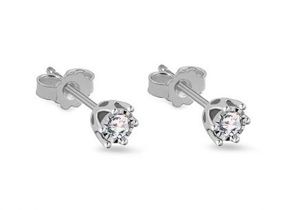 White Gold Diamond Earrings 0.200 ct