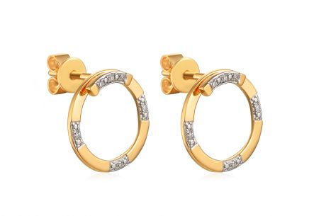 Gold brilliant earrings 0.040 ct