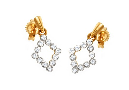 Gold earrings with diamonds