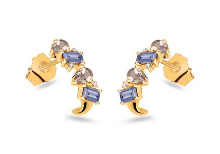 Gold earrings with precious stones and diamonds 0.020 ct