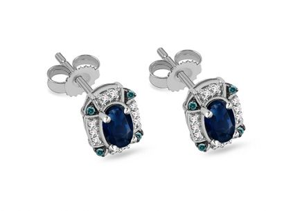 Gold earrings with sapphire, blue and clear diamonds 0.080 ct Jottya