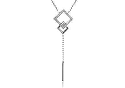 White gold diamond necklace with squares 0.030 ct