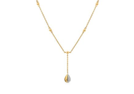 Two tone Gold necklace with diamonds 0.010 ct