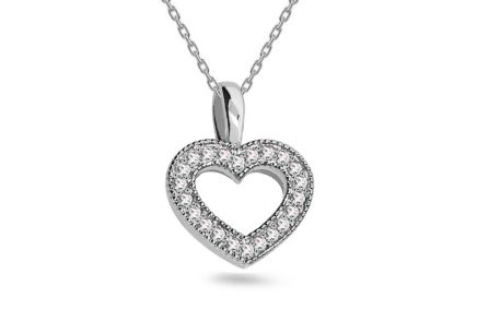 Diamond pendant Glossy Heart 0.030 ct