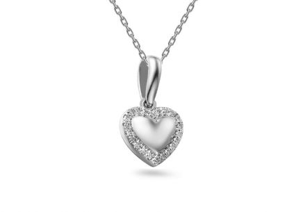 Gold Brilliant Cut Accent Heart Pendant