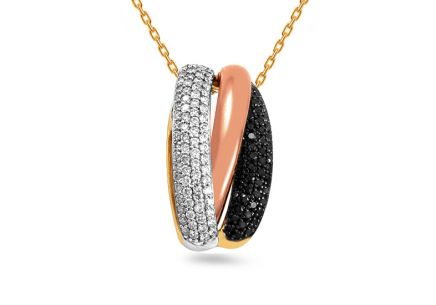 Gold Pendant with Black Diamonds
