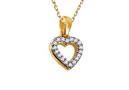Gold Pendant with Brilliants Heart