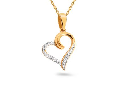 Gold heart pendant with diamonds 0.050 ct
