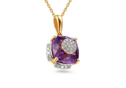 Gold pendant with diamonds and amethyst