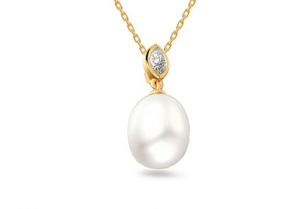 Pearl pendant with diamonds 0.020 ct