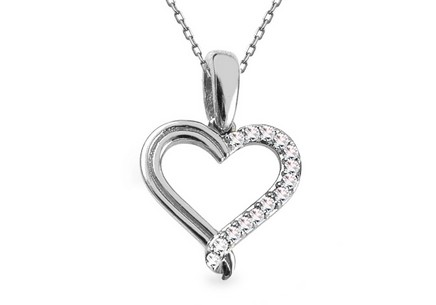 White gold heart pendant with diamonds 0.050 ct