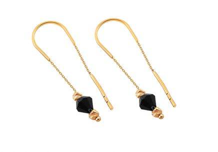 Gold chain earrings with black stones