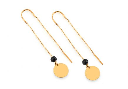 Gold chain earrings with black zircons and plate