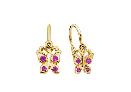 Girl's Gold Butterfly Earrings