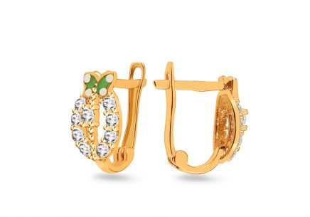 Gold Children's earrings with butterfly