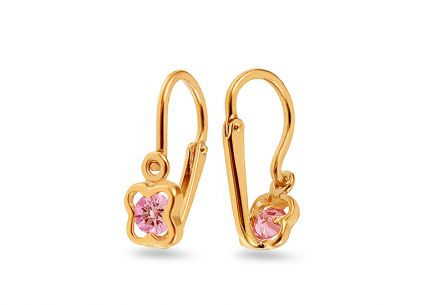 Gold girl´s earrings with rose quartz