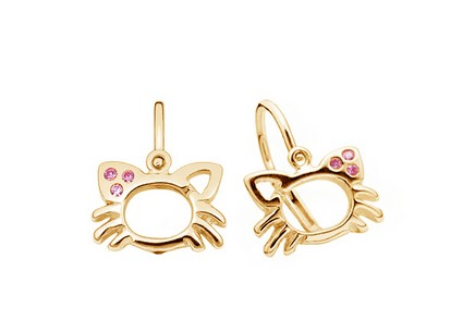 Gold baby kitten earrings