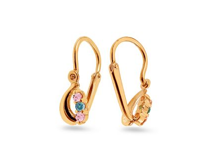 Gold children´s earrings with zircons