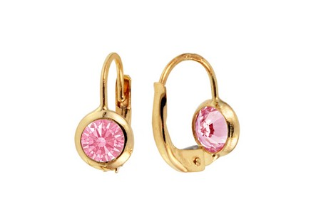 Gold girly earrings with pink zircons