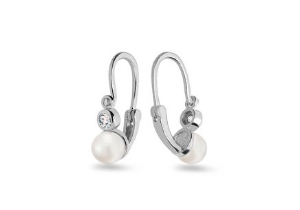 Gold Kids Earrings with Fine Pearl