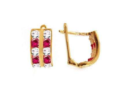 Gold Kids Earrings with Pink Stones