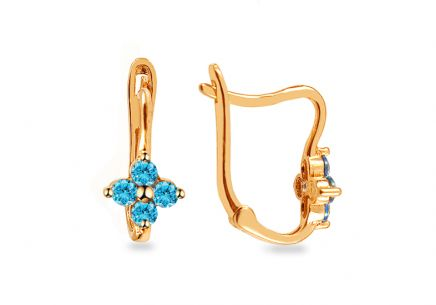 Golden children's earrings with blue stones