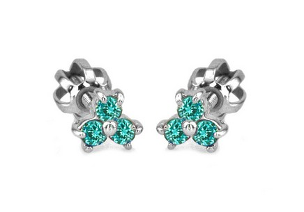 White Gold Earrings for girls with Turquoise