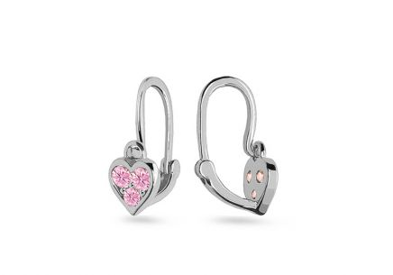 White gold childrens earrings Hearts with zircons