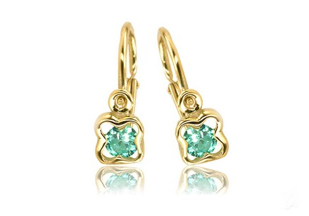 Gold girl´s earrings with turquoise