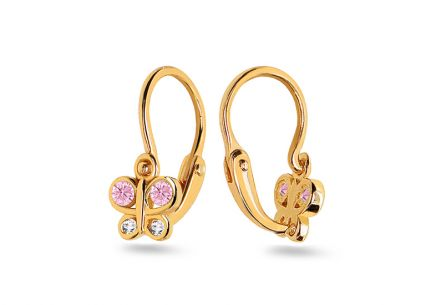 Childrens Gold Earrings Butterlies with zircons