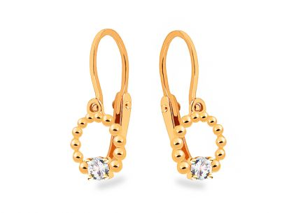 Gold childrens earrings rounds with zircons