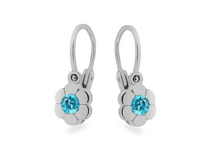 White gold earrings for newborn baby Flowers with zircons
