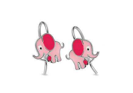 Silver Girls Earrings Elephant