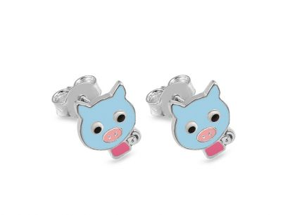 Silver stud Childrens Earrings Pigs
