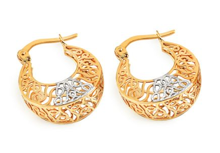 Gold round weaved earrings