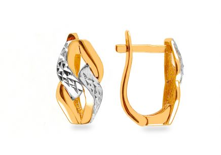 Gold two-toned earrings with engraving