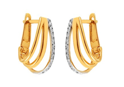 Two Tone Gold Engraved Latch Back Earrings