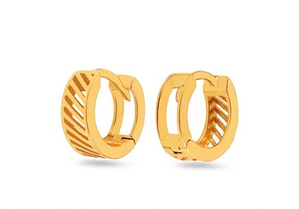 Girl's Gold Patterned Hoop Earrings