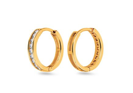 Gold earrings rings with zircons 1 cm