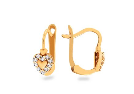 Gold girls Heart earrings with zircons