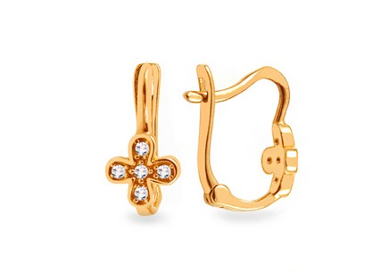 Gold Girls Earrings Flower with Zircons