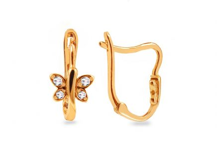 Gold girls Butterfly earrings with zircons