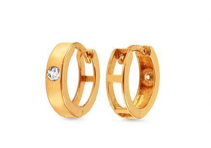 Gold girls hoop earrings with zircon 1 cm