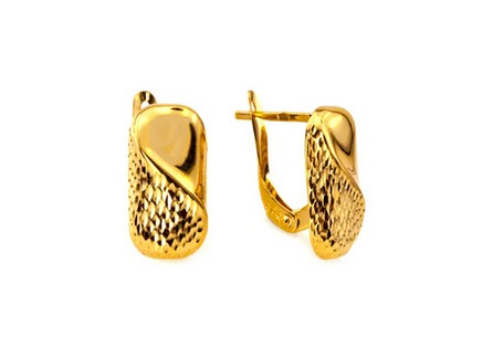 Engraved gold ladies earring